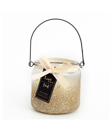 Amber Vanilla Glitter Candle Pot