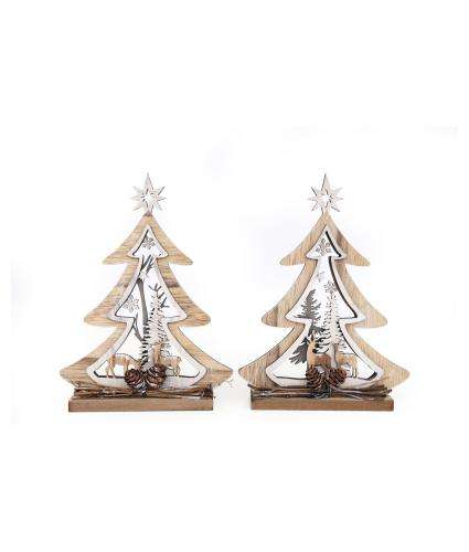 Wooden Tree Cutout Decorations - Set of 2