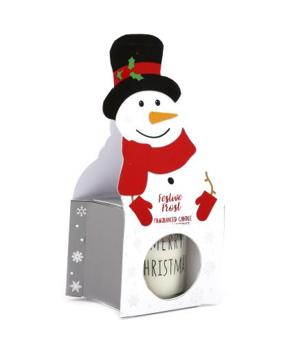 Snowman Festive Frost Scented Candle Pot