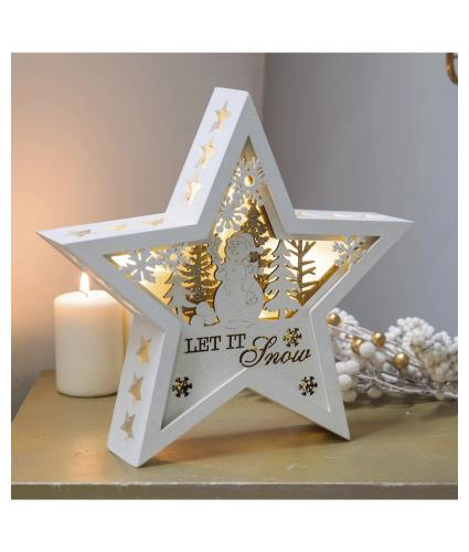 Let It Snow LED Light Star Decoration