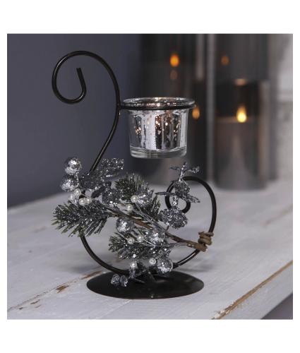 Festive Scroll Tealight Holder in Gift Box