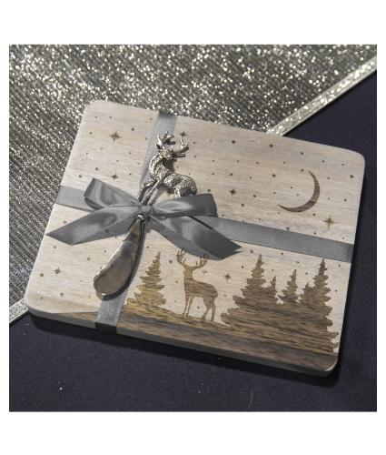 Starry Night & Stag Bamboo Cheese Board Gift Set