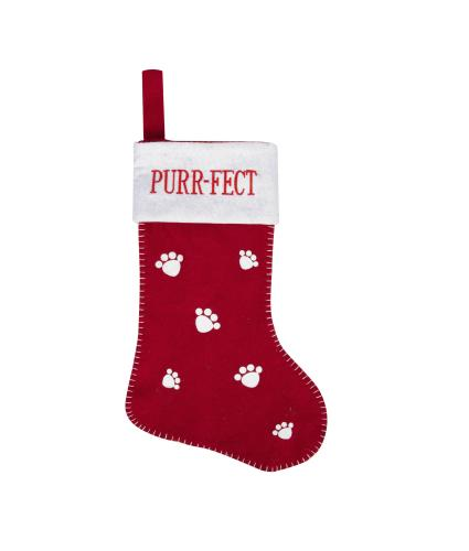 Purr-fect Red & White Cat Stocking