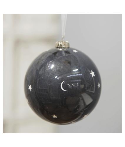 Black & White Moon & Stars Bauble - 10cm