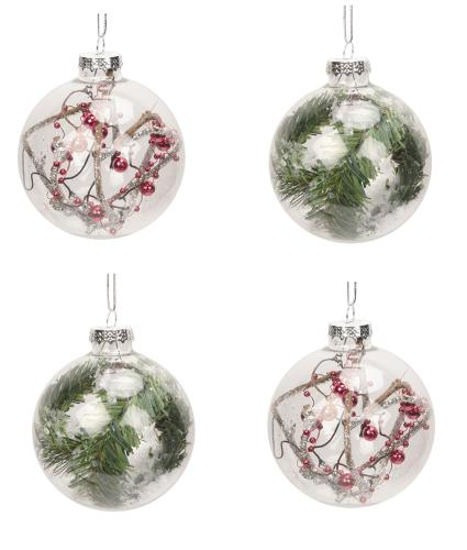 Clear Glass Assorted Christmas Baubles - Set of 4