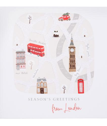 Festive London Map Christmas Cards - Pack of 10