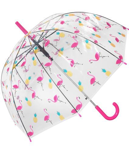 Pineapple and Flamingo Dome Umbrella