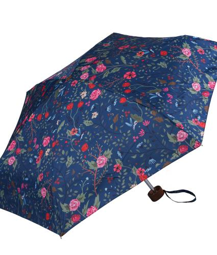 Pink and Blue Floral Bird Print Umbrella