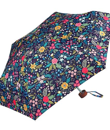 Pink, Yellow and Teal Floral Print Umbrella