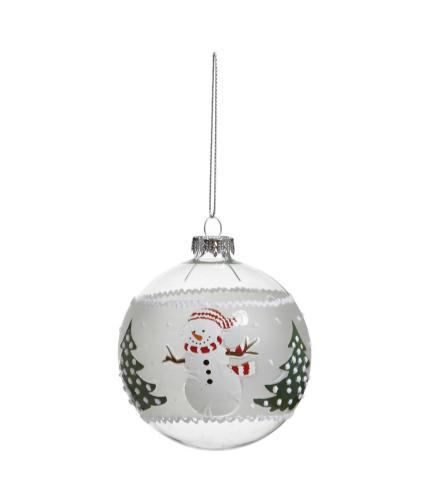 Glass Character Bauble - Snowman