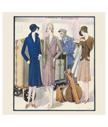 Ladies Luggage on Train Art Deco Greetings Card