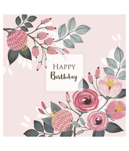 Pink Illustrative Floral Birthday Card