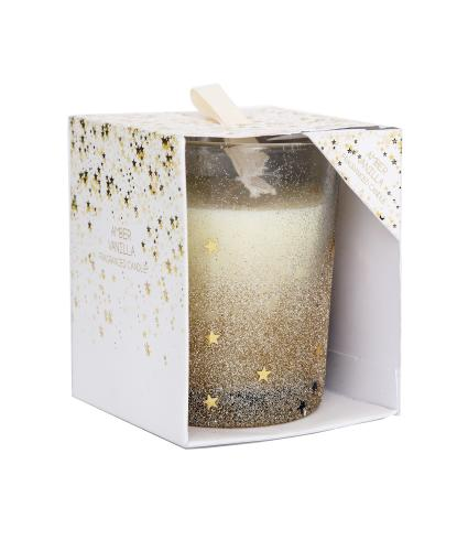 Gold Glitter Glass Star Candle