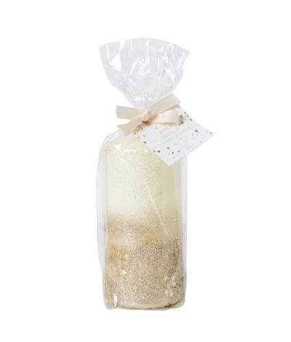 Gold Glitter Pillar Candle