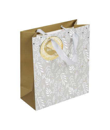 Christmas Wishes Grey & Gold Medium Gift Bag 1