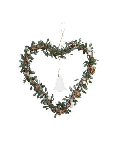 Hanging Mistletoe Heart Wreath