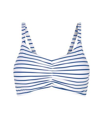 Amoena Kim Pocketed Nautical Bikini Top in White/Blue