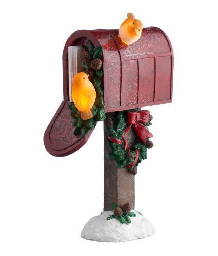 LED Winter Robin Post Box