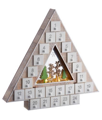 LED Wooden Christmas Tree Advent Calendar