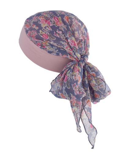 Hipheadwear Chiffon Bandana in Pink Flower Print
