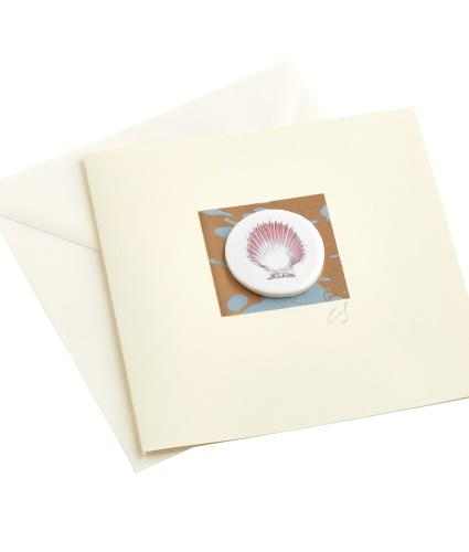 CB Ceramics Pink Scallop Shell Button Greetings Card