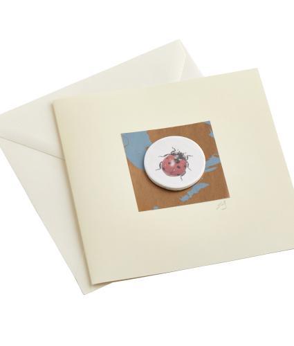 CB Ceramics Ladybird Button Greetings Card
