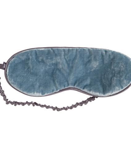 Sleep Eye Mask in Blue Silk Velvet