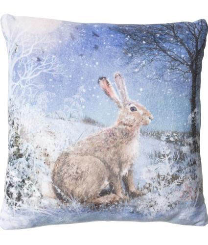 Large Winter Hare LED Cushion