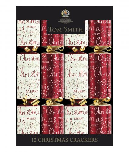 Red and cream script crackers, cancer research uk