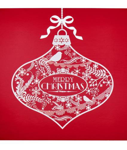 Red & White Bauble Christmas Cards - Pack of 20