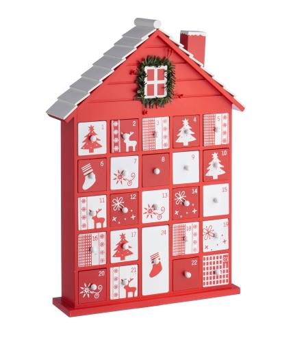 Red & White Wooden House Advent Calendar