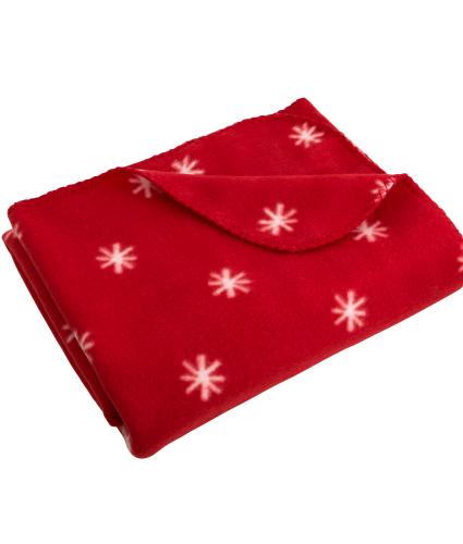 Red Snowflake Fleece Throw