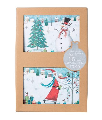 Santa & Snowman Duo Recyclable Christmas Cards - Pack of 16