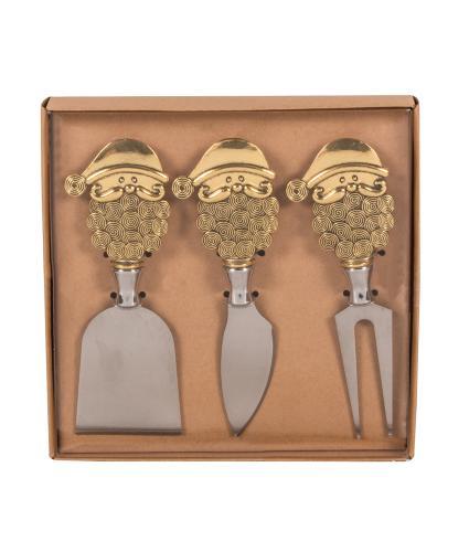 Set of 3 Gold Santa Cheese Knives