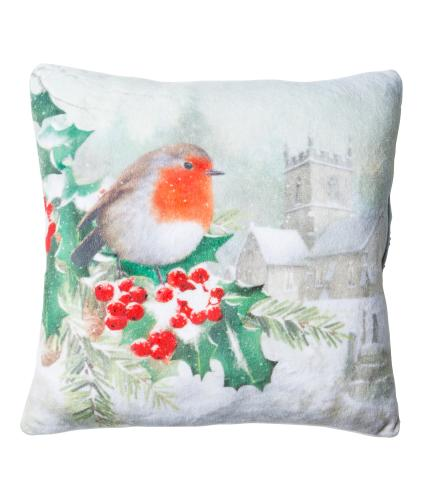 Small Winter Robin Cushion