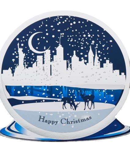 New York Snow Globe Scene Christmas Cards - Pack of 20