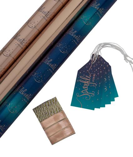 Tom Smith Rose Gold & Blue Gift Wrap Pack