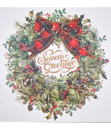 Traditional Wreath Christmas Card - Pack of 20