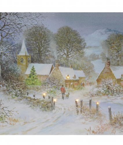 village scene mounted print cancer research uk christmas gift