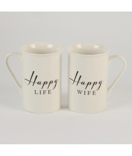 Happy Life and Happy Wife Mugs, Wedding Gift, Cancer Research UK