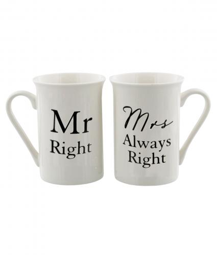 Mr Right and Mrs Always Right Mugs, Wedding Gift, Cancer Research UK