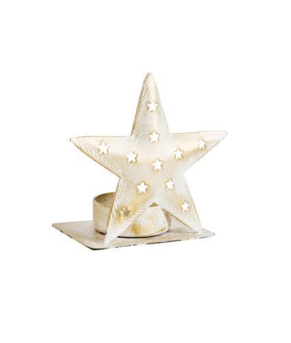White & Gold Star Tealight Holder