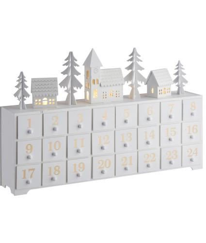 White LED Wooden Scene Advent Calendar
