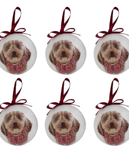 Winter Dog Baubles - set of 6