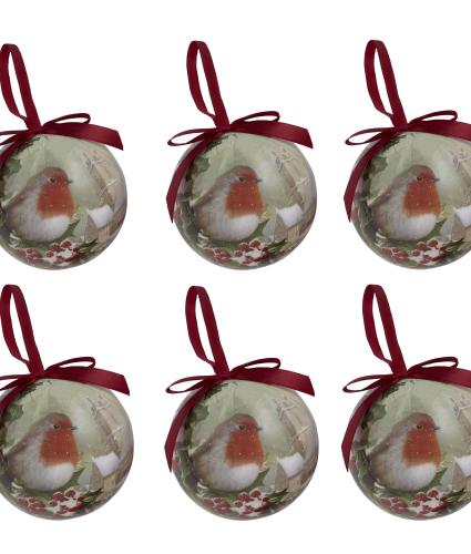 Winter Robin Baubles - Set of 6