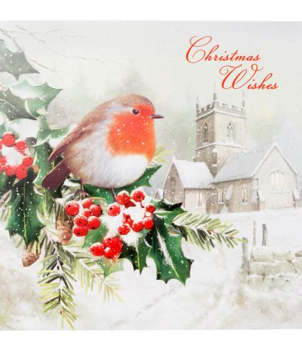 Winter Robin Festive Wishes Christmas Cards - Pack of 20