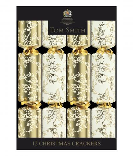 Cream and gold holly crackers, cancer research uk