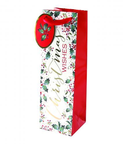 festive foliage holly bottle bag cancer research uk christmas bag