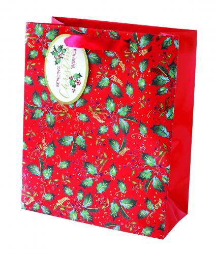 festive foliage holly medium bag cancer research uk christmas bag