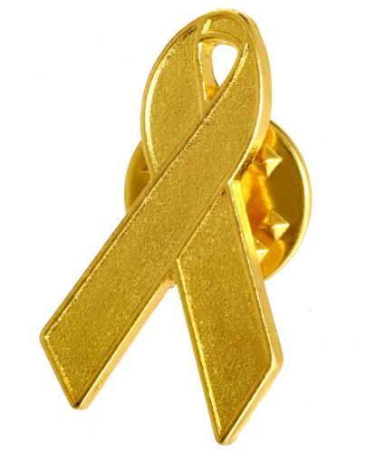 Kids and Teens Gold Ribbon Pin Badge
